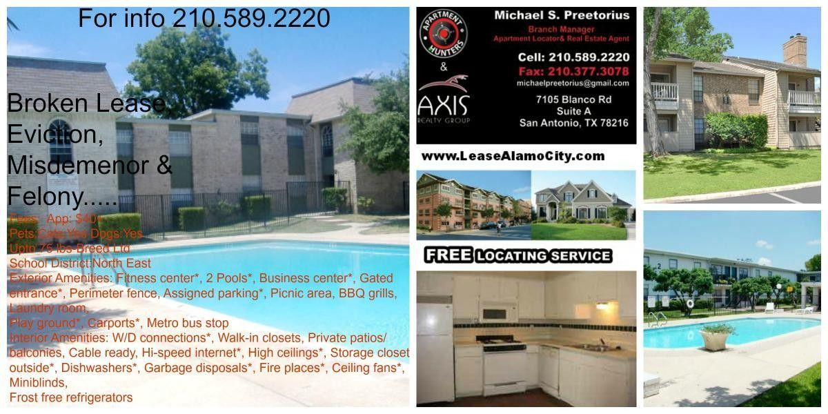 Broken Lease, Eviction, Misdemeanor, Felony Apartments for