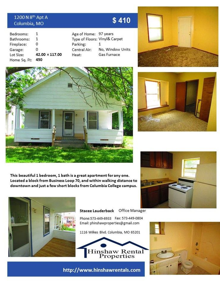 1200 North 8th Street A Columbia Mo 65201 1 Bedroom Apartment For Rent 410 Month Zumper