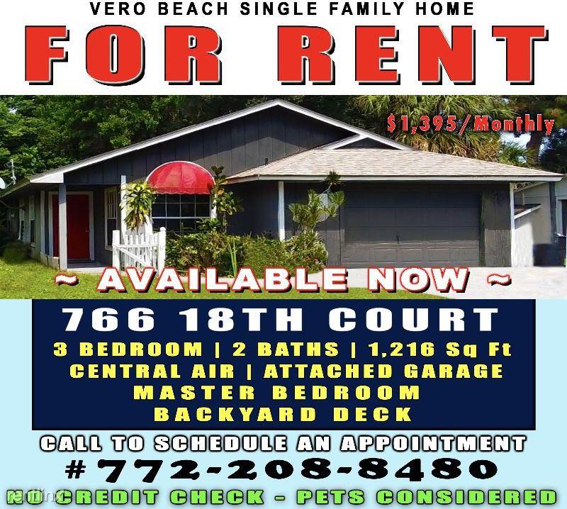 766 18th Ct, Vero Beach, FL 32962 3 Bedroom House For Rent