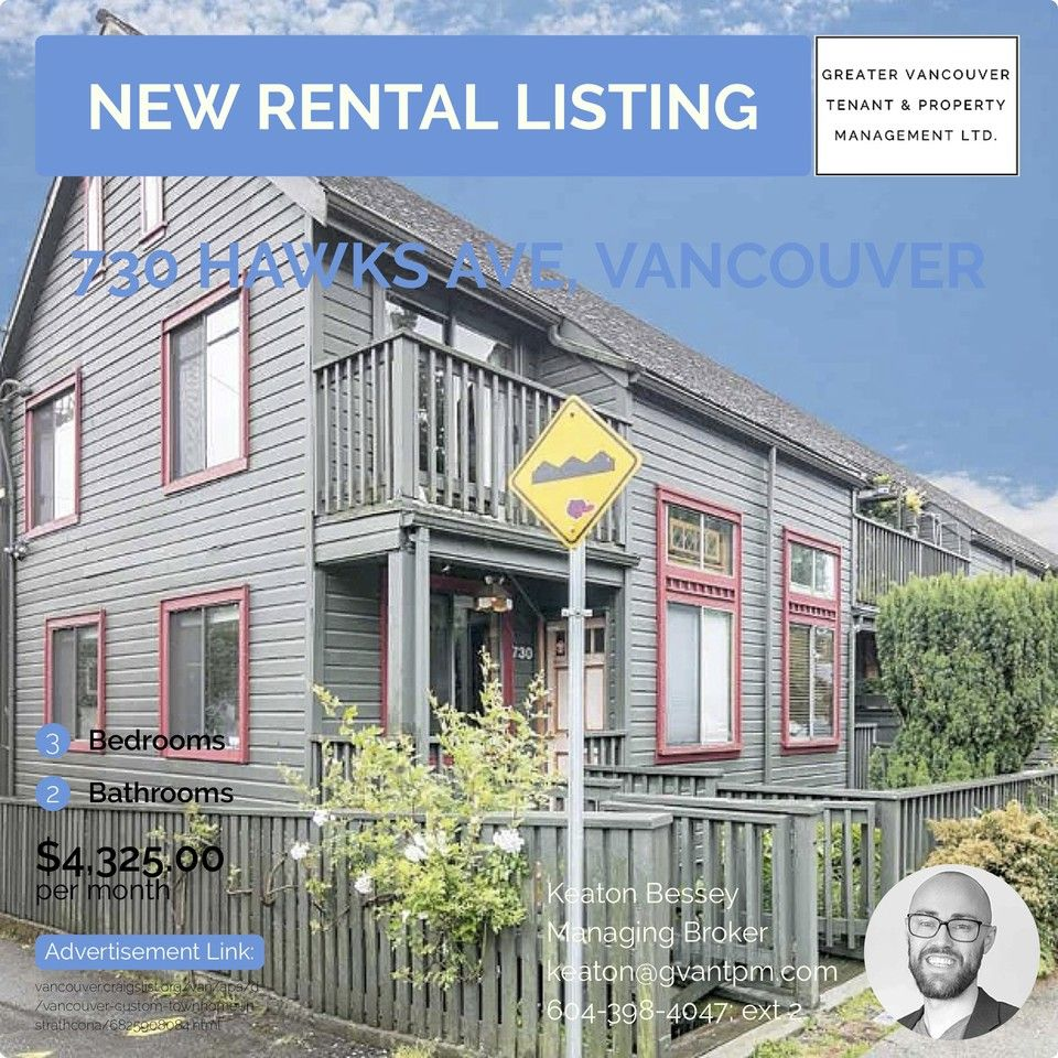 3 Bedroom Apartment For Rent Vancouver: 730 Hawks Avenue, Vancouver, BC V6A 3J3 3 Bedroom House
