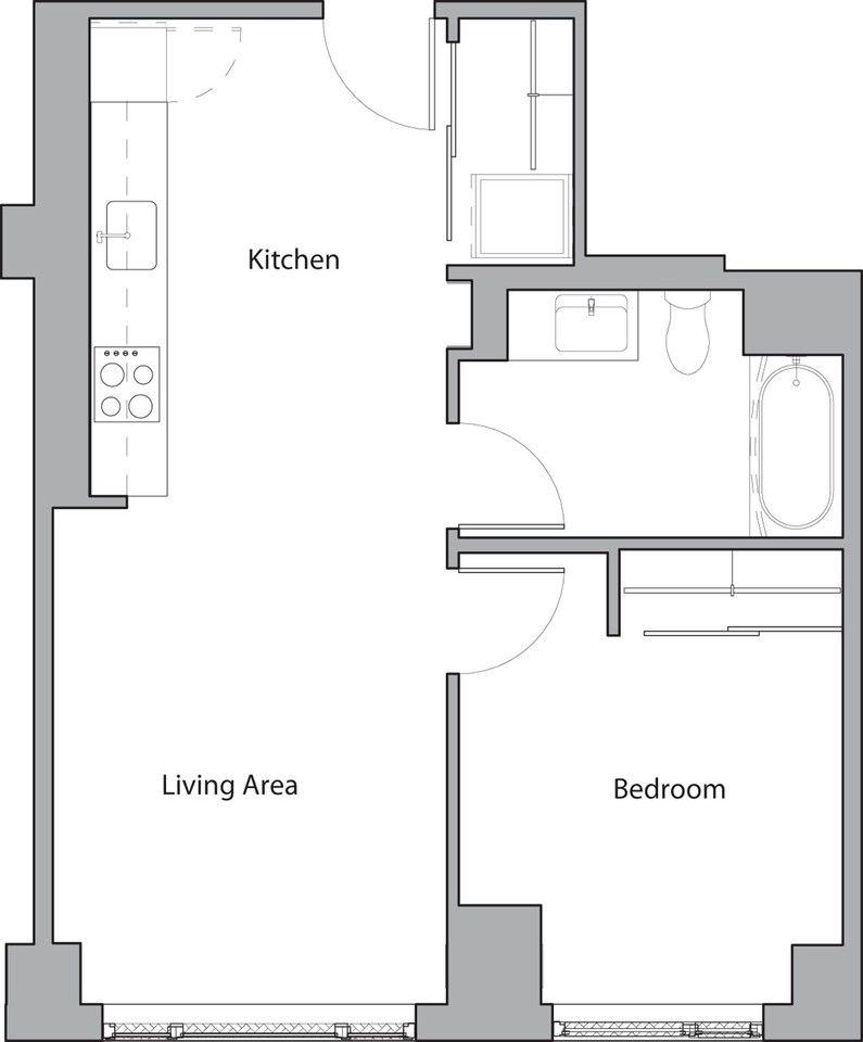 1 Bedroom Apartments Boston: 58 Traveler St #644, Boston, MA 02118